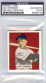 Lou Stringer Autographed 1949 Bowman Reprints Card #183 Boston Red Sox PSA/DNA #83828138