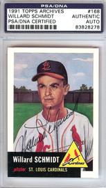 Willard Schmidt Autographed 1991 Topps Archives 1953 Reprint Card #168 St. Louis Cardinals PSA/DNA #83828278