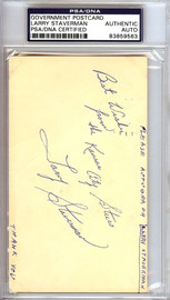 Larry Staverman Autographed 3x5 Government Postcard PSA/DNA #83859563