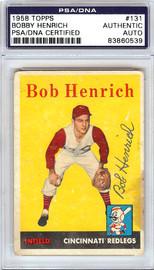 Bobby Henrich Autographed 1958 Topps Card #131 Cincinnati Redlegs PSA/DNA #83860539