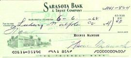 Heinie Manush Autographed Check Washington Senators SKU #100280