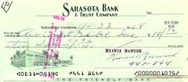 Heinie Manush Autographed Check Washington Senators SKU #100282