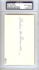 Bill Bagwell Autographed 3x5 Index Card Boston Braves, Philadelphia A's PSA/DNA #83860346