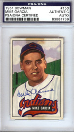 Mike Garcia Autographed 1951 Bowman Card #150 Cleveland Indians PSA/DNA #83861739