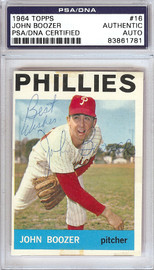 "John Boozer Autographed 1964 Topps Card #16 Philadelphia Phillies ""Best Wishes"" PSA/DNA #83861781"