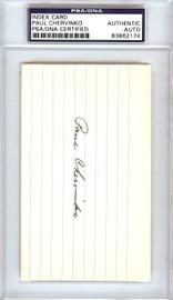 Paul Chervinko Autographed 3x5 Index Card Brooklyn Dodgers PSA/DNA #83862174