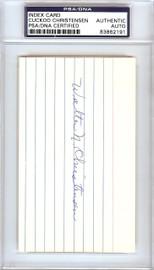 Walter Cuckoo Christensen Autographed 3x5 Index Card Cincinnati Reds PSA/DNA #83862191