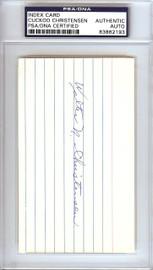 Walter Cuckoo Christensen Autographed 3x5 Index Card Cincinnati Reds PSA/DNA #83862193
