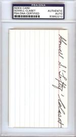 "Gowell ""Lefty"" Claset Autographed 3x5 Index Card Philadelphia A's PSA/DNA #83862210"