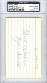 """John """"Johnny"""" Schulte Autographed 3x5 Index Card New York Yankees PSA/DNA #83862407"""