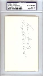 "Denver Grigsby Autographed 3x5 Index Card Chicago Cubs ""Chicago Cubs 1923-24-25"" PSA/DNA #83862558"