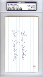 Jim Constable Autographed 3x5 Index Card New York Giants PSA/DNA #83862795