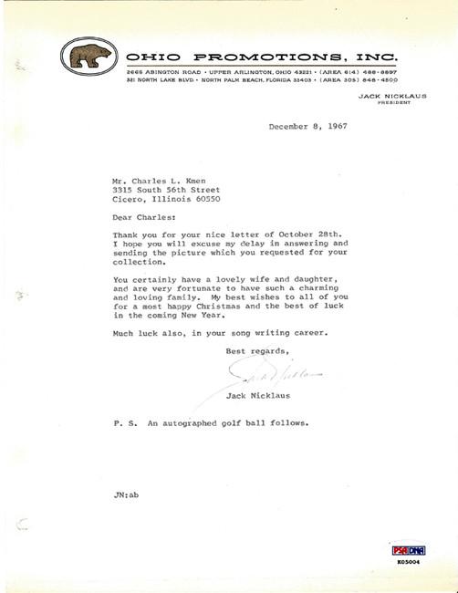 Jack Nicklaus Autographed Letter 1967 Vintage Signature PSA/DNA #K05004