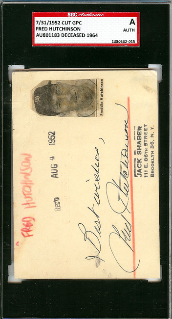 "Fred Hutchinson Autographed 3x4.5 Government Postcard Detroit Tigers ""Best Wishes"" SGC #AU801183"