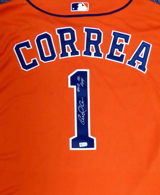 "Houston Astros Carlos Correa Autographed Authentic Majestic Orange Jersey Size 48 2015 Postseason Patch ""2015 AL ROY"" MLB Holo #JB663602"