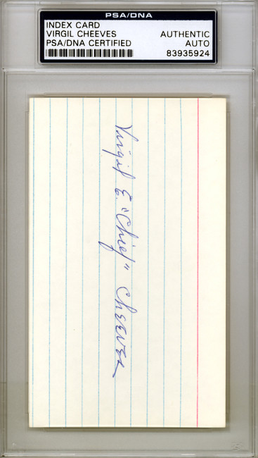 """Virgil """"Chief"""" Cheeves Autographed 3x5 Index Card Chicago Cubs PSA/DNA #83935924"""