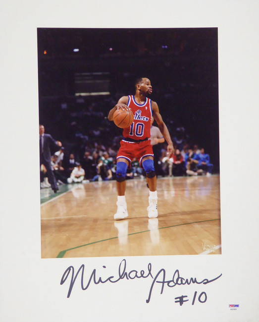 Michael Adams Autographed 16x20 Matted Photo Washington Bullets PSA/DNA #AB53604