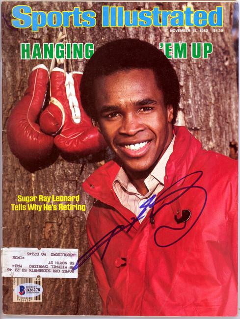 Sugar Ray Leonard Autographed Sports Illustrated Magazine Beckett BAS #B26278