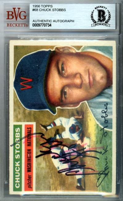 Chuck Stobbs Autographed 1956 Topps Card #68 Washington Nationals Beckett BAS #9770734