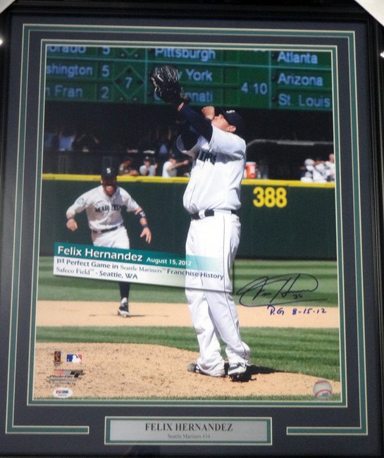 """Felix Hernandez Autographed Framed 16x20 Photo Seattle Mariners """"P.G. 8-15-12"""" Perfect Game PSA/DNA Stock #94160"""