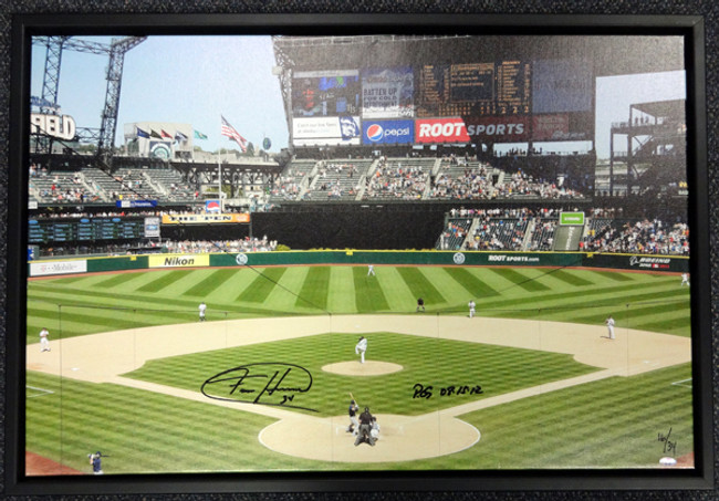 "Felix Hernandez Autographed Framed 20x30 Canvas Photo Seattle Mariners ""PG 8-15-12"" #/34 MCS Holo Stock #94467"