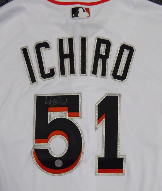 Miami Marlins Ichiro Suzuki Autographed White Majestic Authentic Flex Base Jersey Size 44 IS Holo Stock #107890