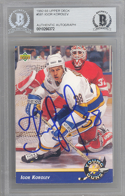 Igor Korolev Autographed 1992-93 Upper Deck Rookie Card #581 St. Louis Blues Beckett BAS #10266372