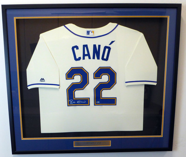 Seattle Mariners Robinson Cano Autographed Framed Cream Majestic Cool Base Jersey MCS Holo Stock #130335