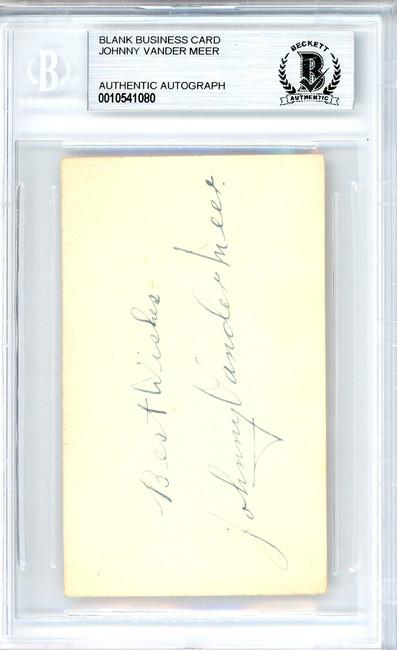"Johnny Vandermeer Autographed 2x3.5 Blank Business Card Cincinnati Reds ""Best Wishes"" Vintage Playing Days Signature Beckett BAS #10541080"