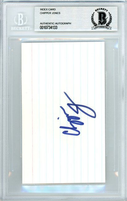 Chipper Jones Autographed 3x5 Index Card Atlanta Braves Beckett BAS #10734133