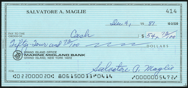 Sal Maglie Autographed 3x6 Check Brooklyn Dodgers, New York Yankees SKU #147871