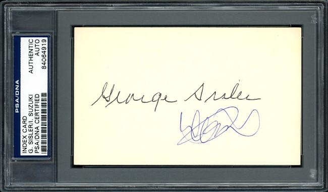 Ichiro Suzuki & George Sisler Autographed 3x5 Index Card PSA/DNA #84064919