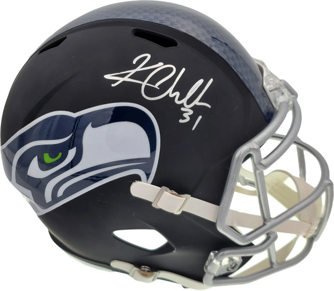 Kam Chancellor Autographed Seattle Seahawks Flat Matte Black Full Size Replica Helmet In Silver MCS Holo Stock #148370