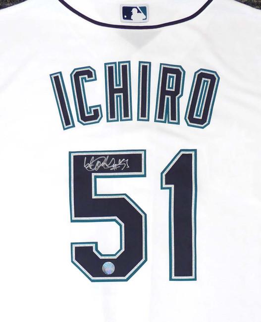 """Seattle Mariners Ichiro Suzuki Autographed White Majestic Cool Base Jersey """"#51"""" Size L IS Holo Stock #148634"""