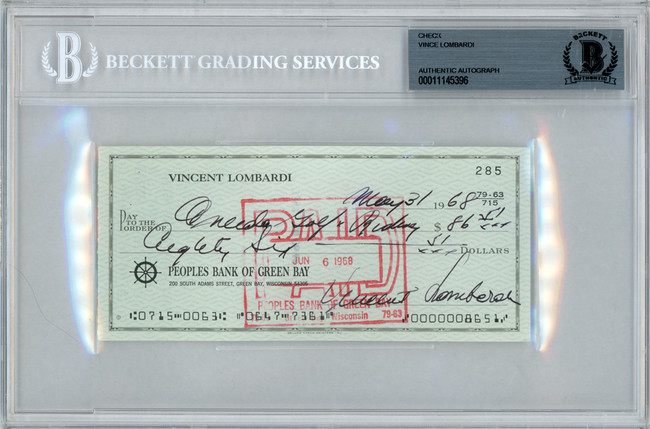 Vince Lombardi Autographed 3x6 Check Green Bay Packers Beckett BAS #11145396