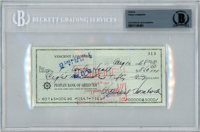 Vince Lombardi Autographed 3x6 Check Green Bay Packers Beckett BAS #11145401
