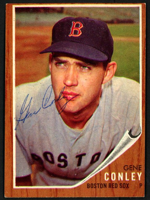 Gene Conley Autographed 1962 Topps Card #187 Boston Red Sox SKU #149671