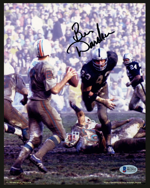 Ben Davidson Autographed 8x10 Photo Oakland Raiders Signed In Black Beckett BAS Stock #153186