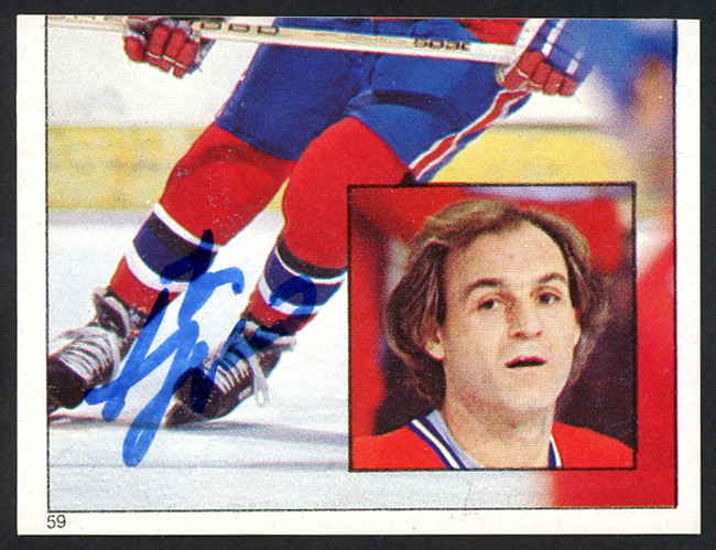 Guy Lafleur Autographed 1983-84 Topps Sticker Card #59 Montreal Canadiens SKU #154092