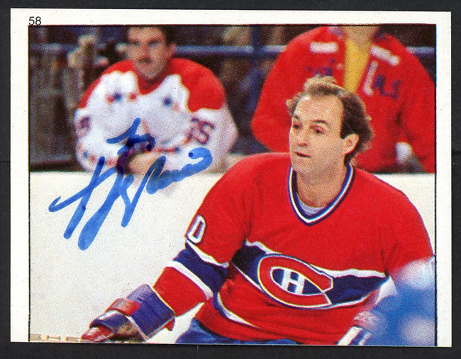 Guy Lafleur Autographed 1983-84 Topps Sticker Card #58 Montreal Canadiens SKU #154094