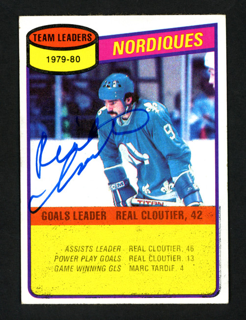Real Cloutier Autographed 1980-81 Topps Card #238 Quebec Nordiques SKU #154282