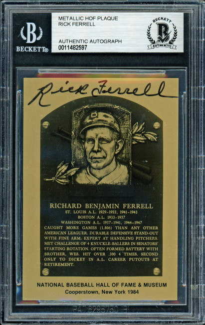 Rick Ferrell Autographed 1984 Metallic HOF Plaque Card Boston Red Sox Beckett BAS #11482597