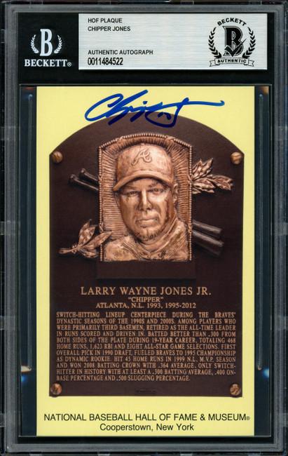 Chipper Jones Autographed HOF Plaque Postcard Atlanta Braves Beckett BAS Stock #156252