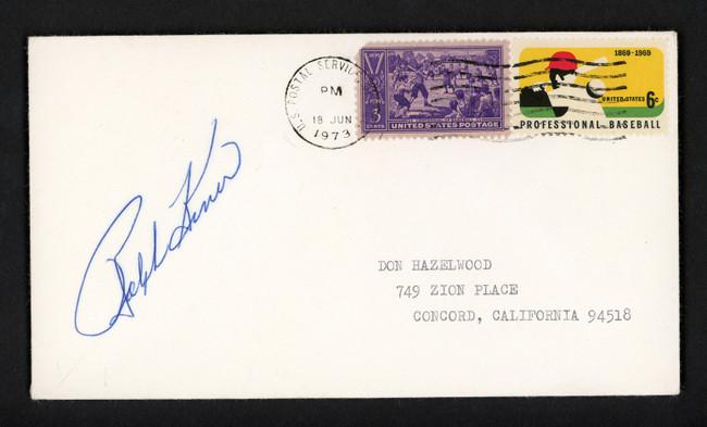 Ralph Kiner Autographed 3.5x6.5 Postal Cover Pittsburgh Pirates SKU #156646