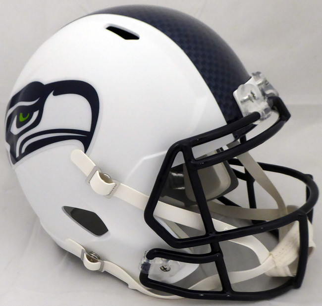 Unsigned Seattle Seahawks Flat Matte White Full Size Speed Replica Helmet Stock #159240