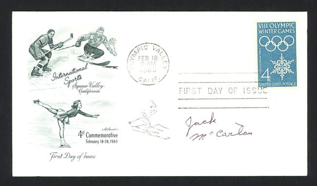Jack McCartan Autographed First Day Cover 1960 Olympics Hockey USA SKU #159566