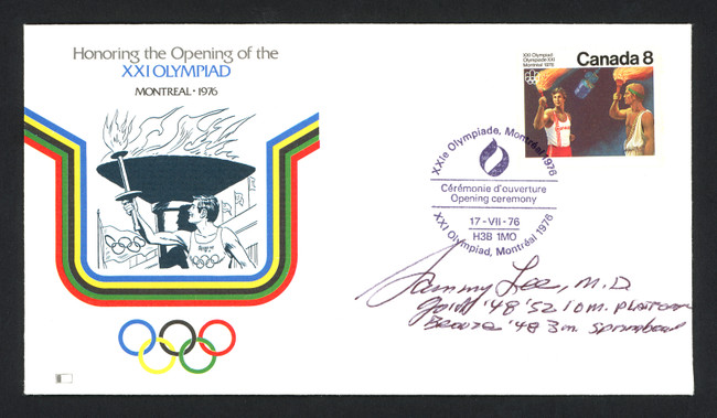 Sammy Lee Autographed First Day Cover Olympic Diver SKU #159596