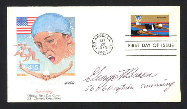 George Breen Autographed First Day Cover Olympic Swimmer SKU #159608