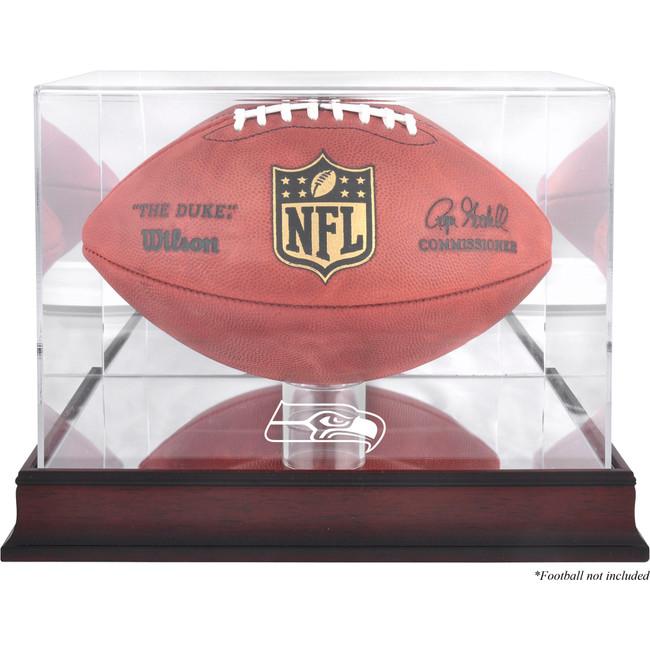 Seattle Seahawks Logo Mahogany Football Display Case With Mirror Back Stock #159895