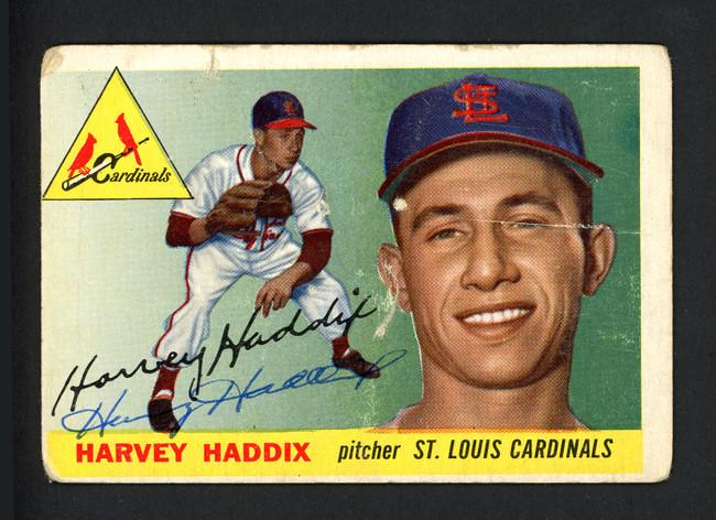 Harvey Haddix Autographed 1955 Topps Card #43 St. Louis Cardinals SKU #162235